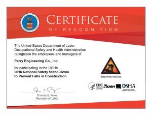 2016 OSHA Stand-Down Certificate