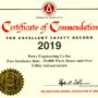 2019 AGC Certificate of Commendation for Excellent Safety Record